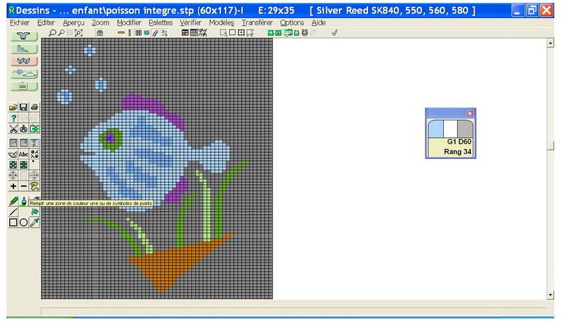 Dessin en noir et blanc converti en dessin de mailles colorisé grâce à Designaknit. - cours sur designaknit